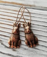 urban rabbit ring holder images Handmade oxidized copper bunny rabbit earrings urban metal designs jpg