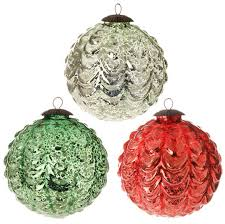 christmas antiqued glass ball ornaments set of 3 glass christmas