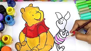 winnie pooh colouring book learn color piglet winnie