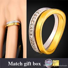 gold platinum rings images U7 wedding couple rings for men women 18k real gold platinum jpg