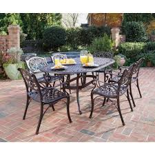 Home Styles Biscayne Bronze Piece Patio Dining Set - 7 piece outdoor dining set with round table