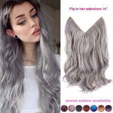 14 inch hair extensions 14 inch grey silver hair no clip hair extension