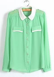 apple green epaulet lapel long sleeve chiffon blouse blouses tops