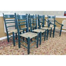 Country Dining Chairs Vintage Green Rawhide Woven Seat Country Dining Chairs Set Of