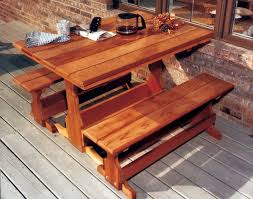 Trestle Table Bench Red Cedar Rectangular Trestle Picnic Table Set For Picnic Table