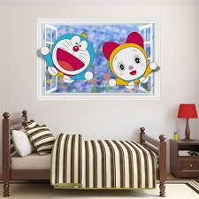 Kawaii Room Decor bedroom 3d font b kawaii b font doraemon wall sticker for kids