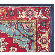 red and turquoise area rug 3657