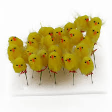 Easter Bonnet Decorations by 24pcs Flexible Super Soft Yellow Chenille Chicks With Feather