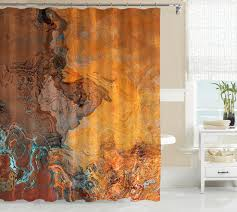 abstract art shower curtain southwest shower curtain in rust and