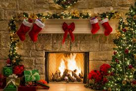 a merry christmas new year box gifts holiday fireplace fire tree