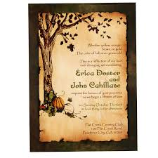 wedding invitation sles vintage rustic pumpkin and autumn tree wedding invitation fall