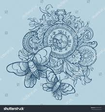 patterned vintage clock precious ornaments gears stock vector