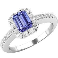 white gold engagement rings uk tanzanite cut tanzanite diamond ring with shoulder stones in