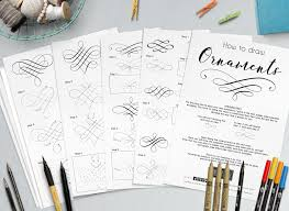 lettering ornaments how to draw practice sheets bullet