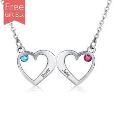 necklace birthstones three intertwined hearts necklace with birthstones necklace with