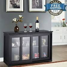 glass kitchen cabinets sliding doors details about storage cabinet sideboard buffet cupboard glass sliding door pantry kitchen new