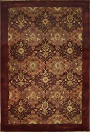 Indian Area Rug Handmade And Knotted Rectangular Indian Agra Area Rug With Leaf