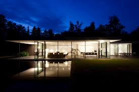 contemporary nuance modern house at night with floor