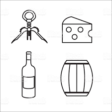 black and white champagne bottle clipart take out cork cheese barrel and bottle of wine stock vector art