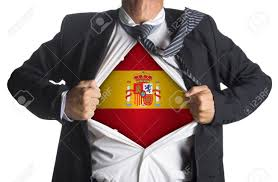 Flag Suit Flag Of Spain With Coat Of Arms And Businessman Showing A