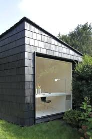 office design example clear cedar shingle roof garden office