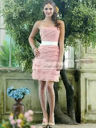 Light Pink Bridesmaid Dress Sheath Chiffon Strapless Short Tiered Sash Light Pink Bridesmaid