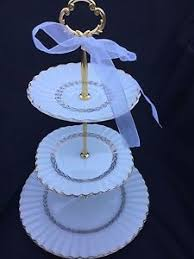 3 tier serving tray gold white wedding cake stand meakin plate ebay