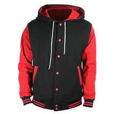 u world men u0027s cotton hoodie varsity baseball jacket red at amazon