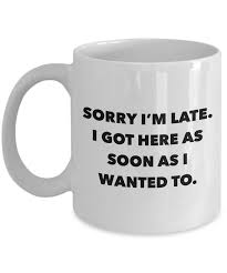 Coffee Cup office coffee mug i work gifts sorry i m late i got