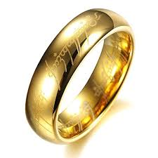 lord of the rings wedding band high end lord of the rings gold color tungsten carbide ring mens