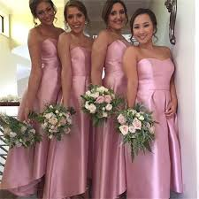 2016 a line bridesmaid dresses pink plus size formal strapless