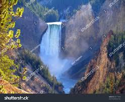 Most Beautiful Waterfalls by Waterfall Called Lower Yellowstone Falls One Stock Photo 82117024