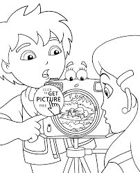 diego coloring pages for kids with camera printable free