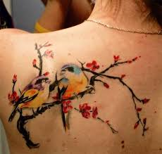 mind blowing 3d cherry blossom tree and bird truetattoos
