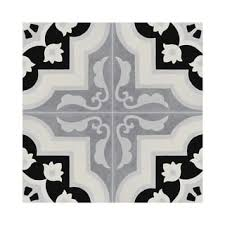 megouna black and white handmade moroccan 8 x 8 inch cement and