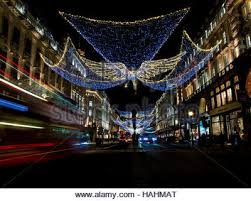 christmas lights and decorations in regent street london 1964