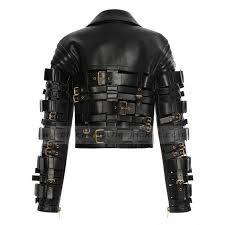 leather motorcycle vest zendaya coleman jacket straps and buckles leather motorcycle jacket