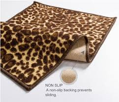 Rubber Backed Area Rugs Ali Leopard Brown Beige Animal Print Dots Modern Mat Non Slip