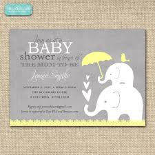 baby shower invitation elephant yellow and grey printable baby