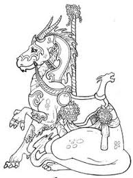 carousel coloring pages ilustration seahorses