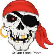 eps vector of sketched skull of dead guard of pirate treasure