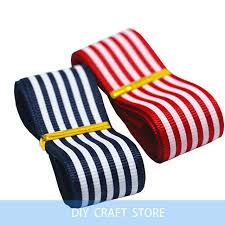 navy and white striped ribbon 20 meters 1 25mm navy blue printed striped grosgrain ribbon