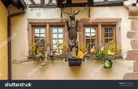 easter holiday decorations medieval village riquewihr stock photo