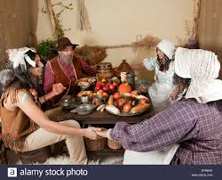 reenactment of the thanksgiving dinner in plymouth in