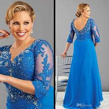 2016 plus size blue plus size mother of the bride dress with