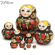 kiwarm 10pcs set lovely strawberry wooden russian dolls paint