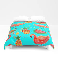 flamingo duvet cover turquoise pineapple comforter flamingo