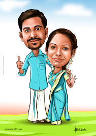 pin by elo on indian wedding caricature cards