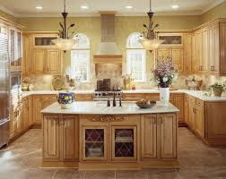 interior design cozy travertine tile with kraftmaid kitchen