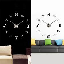 silver black room decals mirror effect diy wall clock creative see larger image